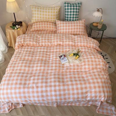 2020福利款-ins网红小清新四季款四件套 床单款三件套1.2m(4英尺)床 玉色方格