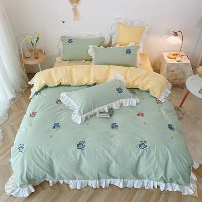 2020新款-ins韩版水洗棉刺绣系列四件套 1.5m床单款四件套 小可爱-浅绿