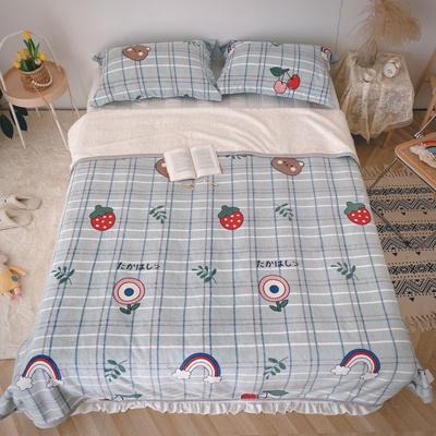 2020新款-双面牛奶绒羊羔绒复合盖毯午睡毯毛毯 120*200cm 彩虹熊-绿