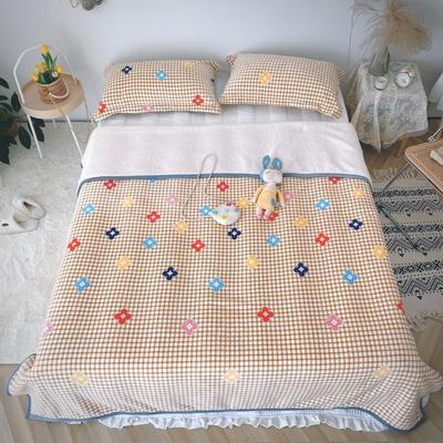 2020新款-双面牛奶绒羊羔绒复合盖毯午睡毯毛毯 120*200cm 格子花朵-卡其