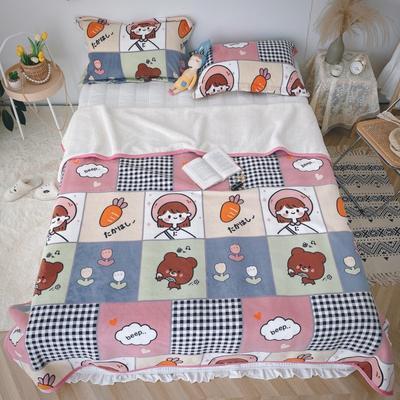 2020新款-双面牛奶绒羊羔绒复合盖毯午睡毯毛毯 120*200cm 萝卜丁