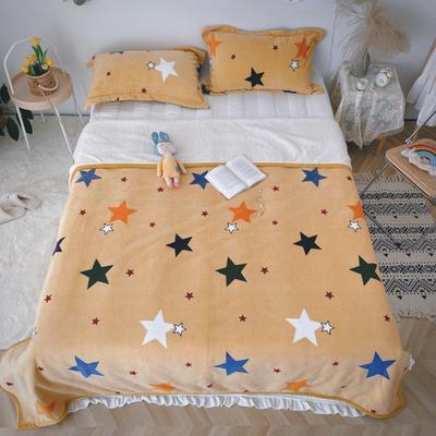 2020新款-双面牛奶绒羊羔绒复合盖毯午睡毯毛毯 120*200cm 满天星-黄