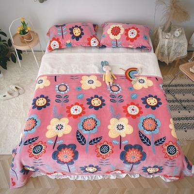 2020新款-双面牛奶绒羊羔绒复合盖毯午睡毯毛毯 120*200cm 秘密花园-粉