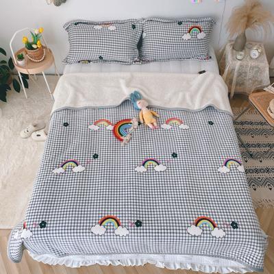 2020新款-双面牛奶绒羊羔绒复合盖毯午睡毯毛毯 120*200cm 七色彩虹-灰