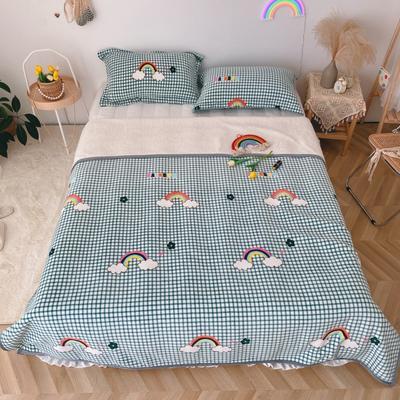 2020新款-双面牛奶绒羊羔绒复合盖毯午睡毯毛毯 120*200cm 七色彩虹-绿