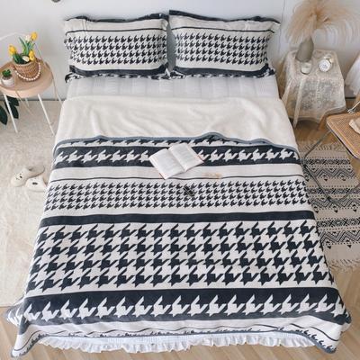 2020新款-双面牛奶绒羊羔绒复合盖毯午睡毯毛毯 120*200cm 千鸟格
