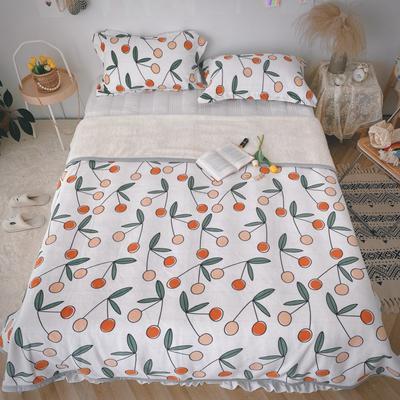 2020新款-双面牛奶绒羊羔绒复合盖毯午睡毯毛毯 120*200cm 水果恋