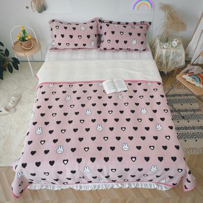2020新款-双面牛奶绒羊羔绒复合盖毯午睡毯毛毯 120*200cm 兔丝基-粉
