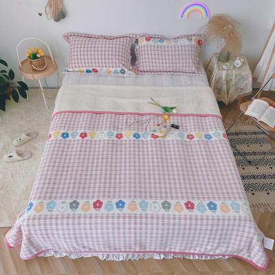 2020新款-双面牛奶绒羊羔绒复合盖毯午睡毯毛毯 120*200cm 温馨-粉