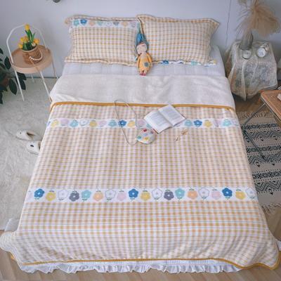 2020新款-双面牛奶绒羊羔绒复合盖毯午睡毯毛毯 120*200cm 温馨-黄