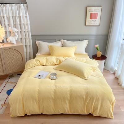 2020秋冬-牛奶绒轻奢刺绣工艺款四件套实拍图 1.8m床单款四件套 奶油黄