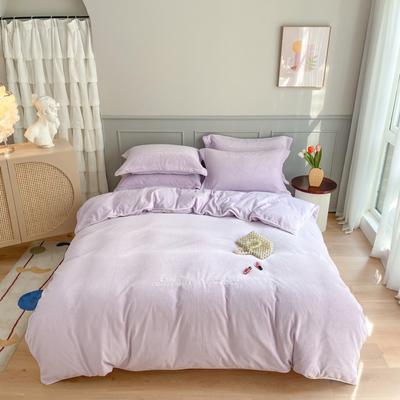2020秋冬-牛奶绒轻奢刺绣工艺款四件套实拍图 1.8m床单款四件套 香芋紫