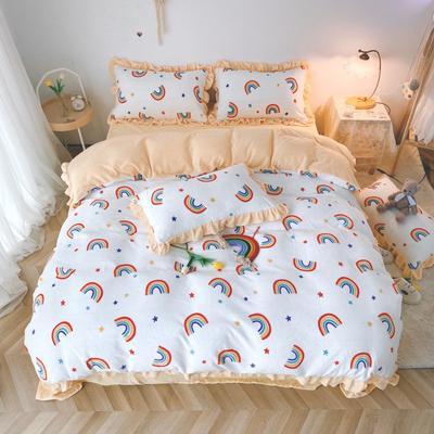 2020新款-韩版牛奶绒工艺款四件套实拍1 1.8m床单款四件套 彩虹白花边款