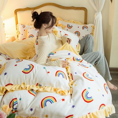 2020新款-韩版牛奶绒工艺款模特图 2.0m床单款四件套 彩虹白花边款-1