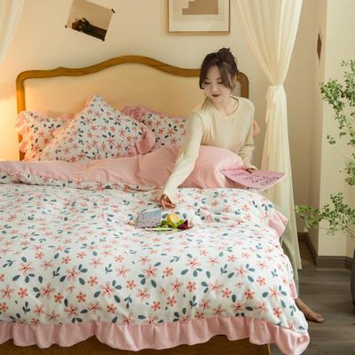 2020新款-韩版牛奶绒工艺款模特图 1.5m床笠款四件套 韶华花边款