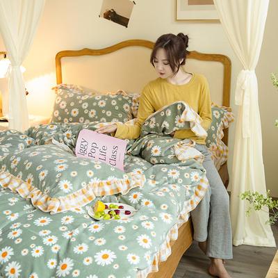 2020新款-韩版牛奶绒工艺款模特图 1.8m床单款四件套 向阳花黄格花边款-1
