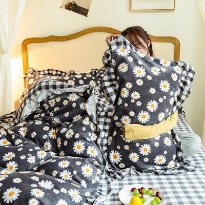 2020新款-韩版牛奶绒工艺款模特图 2.0m床单款四件套 向阳花灰格花边款-1