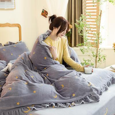 2020新款-韩版牛奶绒工艺款模特图 2.0m床单款四件套 星星月亮灰花边款-1