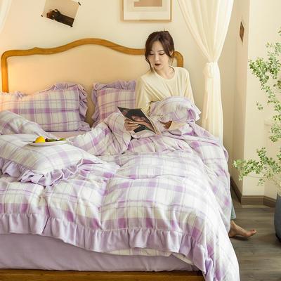 2020新款-韩版牛奶绒工艺款模特图 1.5m床笠款四件套 紫油格花边款