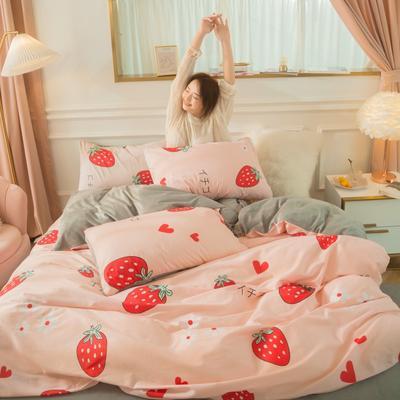 2020新款-棉加绒四件套模特图 1.5m床单款四件套 纷飞挚爱