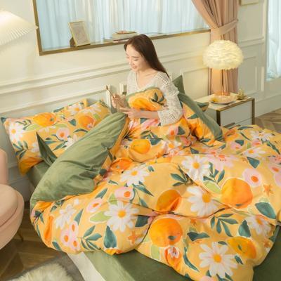 2020新款-棉加绒四件套模特图 1.5m床单款四件套 桃花源记