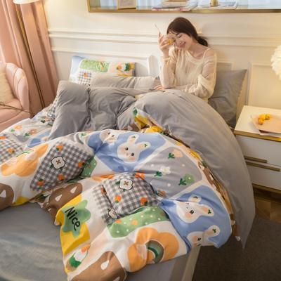 2020新款-棉加绒四件套模特图 1.5m床单款四件套 专属回忆