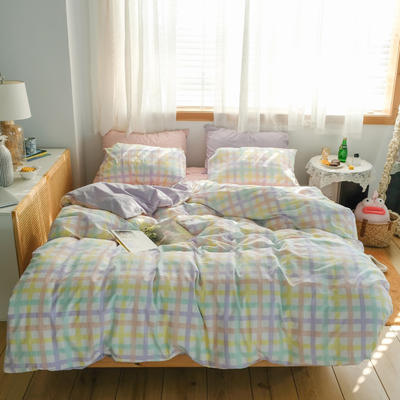 2021新款-40支A类加厚撞色水洗棉小红书风格 1.5m床单款四件套 广岛之恋