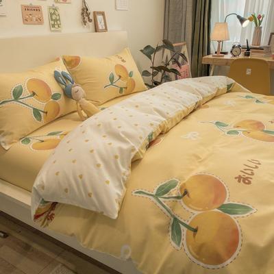 2021春夏新款-全棉小资生活系列四件套影棚图 1.2m床单款三件套 1橙汁