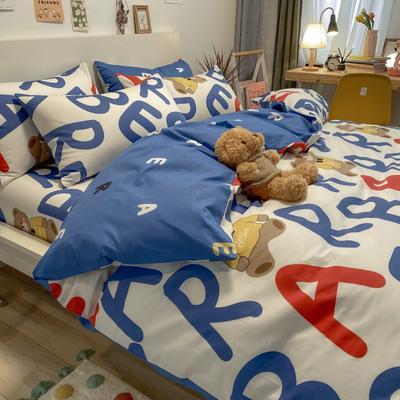 2021新品-全棉小资生活四件套棚图实拍 1.2m床单款三件套 蓝色小熊