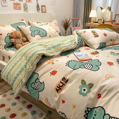 2021新品-全棉小资生活四件套棚图实拍 1.2m床单款三件套 萌萌小恐龙