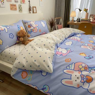 2021新品-全棉小资生活四件套棚图实拍 1.2m床单款三件套 木马小兔