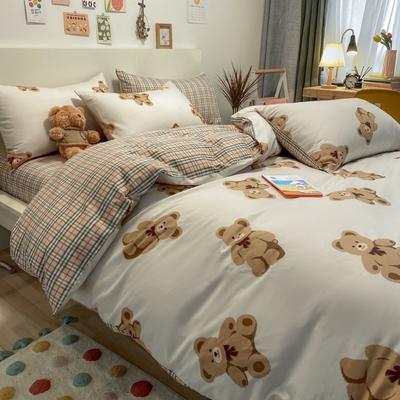 2021新品-全棉小资生活四件套棚图实拍 1.2m床单款三件套 宝丽小熊