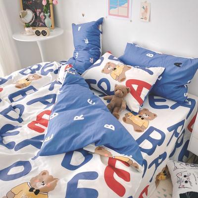 2021新品-全棉小资生活四件套实拍图 1.2m床单款三件套 蓝色小熊
