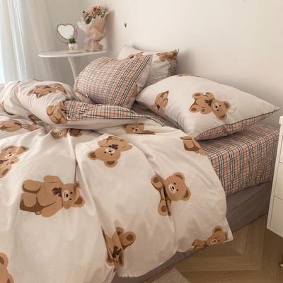 2021新品-全棉小资生活四件套实拍图 1.2m床单款三件套 宝莉小熊