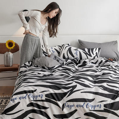2021新款-春夏北欧系列四件套 1.5m床单款四件套 斑马