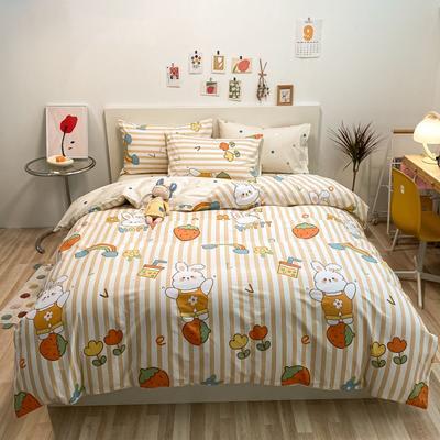 2021新款-春夏全棉13370小资生活四件套棚图实拍-4 1.5m床单款四件套 彩虹兔