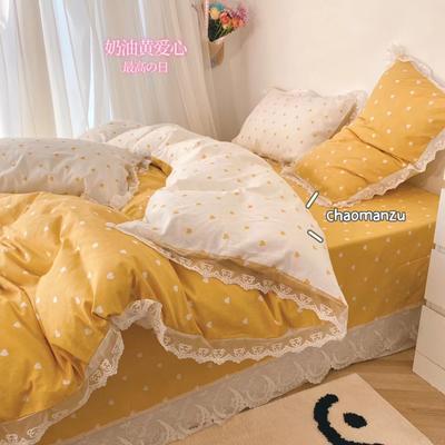 2021新款全棉爱心蕾丝四件套 1.5m床单款蕾丝四件套 奶油黄爱心