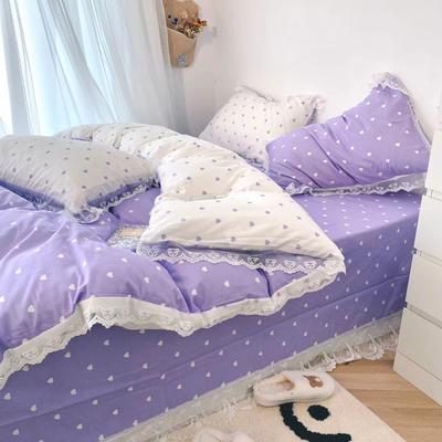 2021新款全棉爱心蕾丝四件套 1.5m床单款蕾丝四件套 浪漫紫爱心