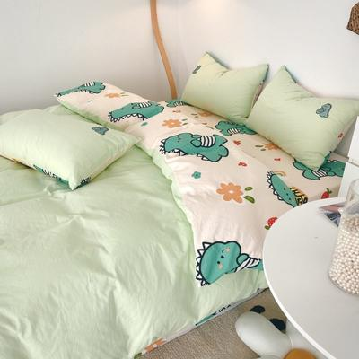 2021新款水洗棉绣花 1.5m床单款四件套 快乐伙伴