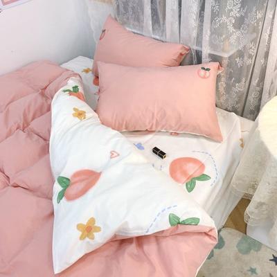 2021新款水洗棉绣花 1.5m床单款四件套 水蜜桃