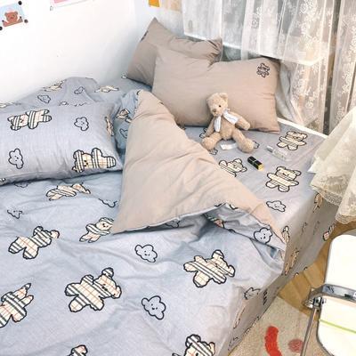 2021新款水洗棉绣花 1.5m床单款四件套 晚安小熊