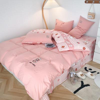 2021新款水洗棉绣花 1.5m床单款四件套 小公主