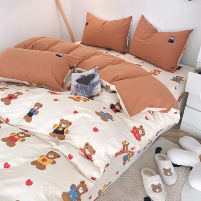 2021新款水洗棉绣花 1.5m床单款四件套 小熊派对
