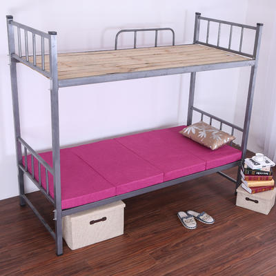 5CM厚纯色细麻4折叠床垫 5CM厚60*190CM 酱红