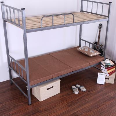 5CM厚纯色细麻4折叠床垫 5CM厚60*190CM 咖色