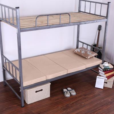 5CM厚纯色细麻4折叠床垫 5CM厚60*190CM 米色