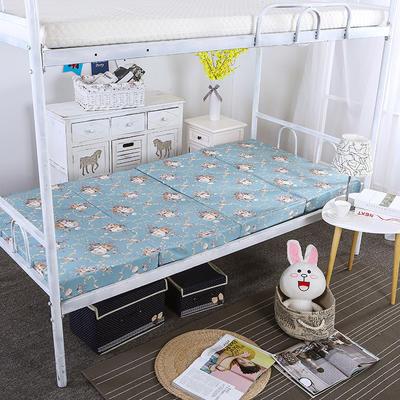 8CM厚印花款4折叠床垫 60*190CM 古典蓝