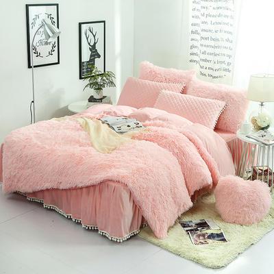 水貂绒四件套 冬季韩版羊糕绒长毛绒4件套件 水晶绒加厚保暖套件 1.5m(5英尺)床 驼色