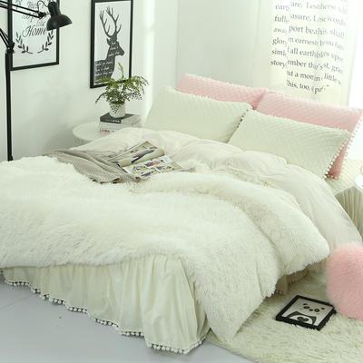 水貂绒四件套 冬季韩版羊糕绒长毛绒4件套件 水晶绒加厚保暖套件 1.5m(5英尺)床 白色