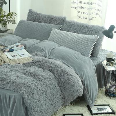 冬季保暖套件 水晶绒法兰绒羊糕绒四件套 水貂绒纯色加厚四件套 1.5m(5英尺)床 驼色